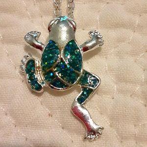 Blue opal frog pendant